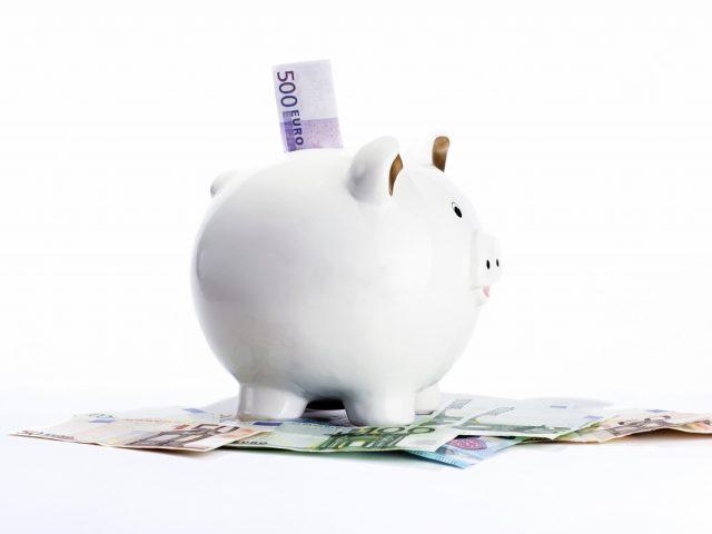 Sparschwein und Euro Geldscheine vor weissem Hintergrund